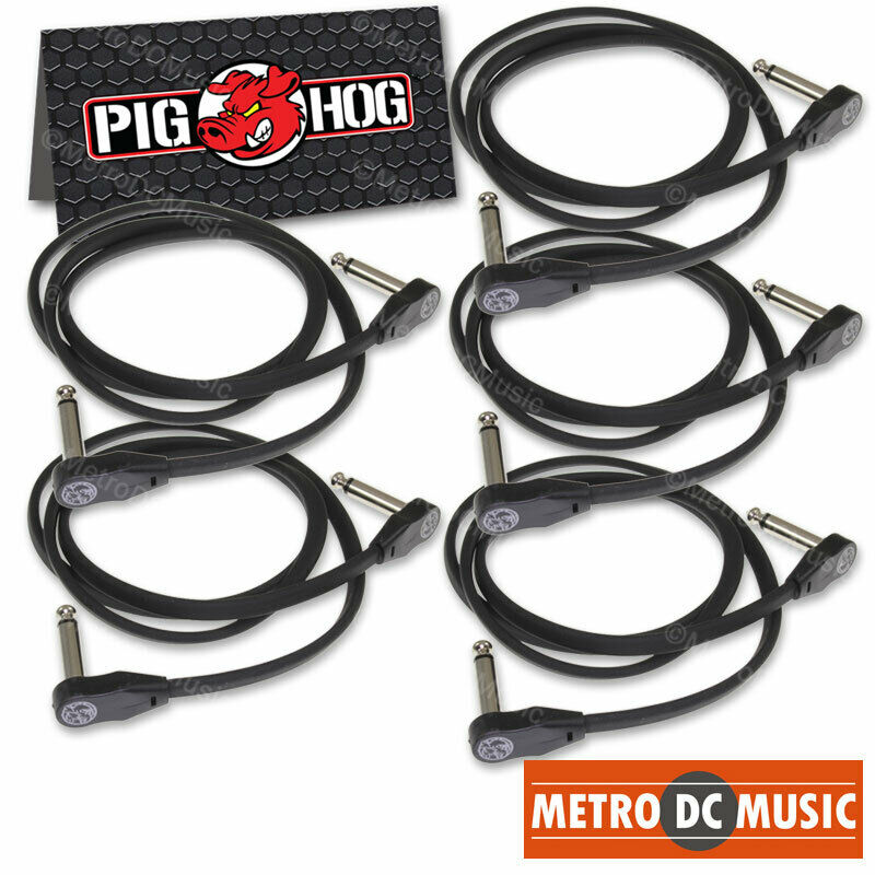 """5-Pack Pig Hog Low Profile Flat 36"""" Right-Angle Patch Cable Cord Pedal 3 ft NEW"""