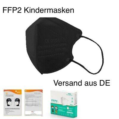 5x FFP2 KINDERMASKEN Maske schwarz für Kinder Atemschutz Nasenschutz EU CE