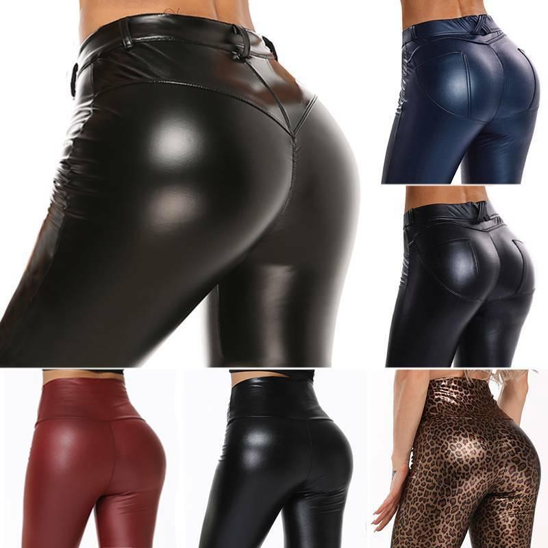 Damen Hose Leder Optik Push Up Kunstleder Skinny Hohe Taille Lederimitat Stretch