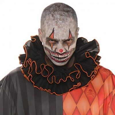 Clown Collar (Clown Collar Ruffled Black & Orange Scary Adult Halloween Costume)
