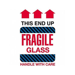 Label Tape -  Fragile Glass - This End Up  (Roll has 500 pieces)