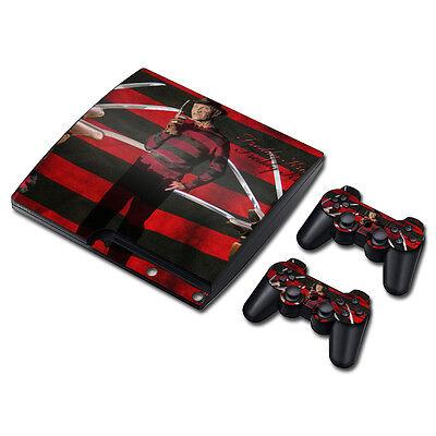 PS3 Slim Playstation 3 Console Skin Decal Sticker - Freddy Krueger Zubehör