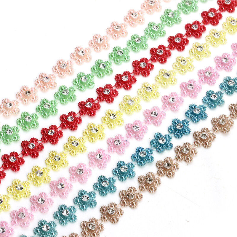 2yards/lot Crystal Flower Artificial Pearls Beads Chains For