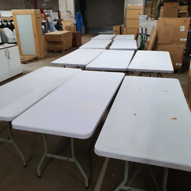 second hand blow moulded folding leg tables, huge Glasgow Showroom