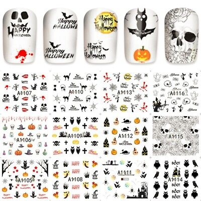 Nail Art Designs Halloween (Nail Art Water Decals Halloween Pumpkin DIY Design Transfer Stickers)