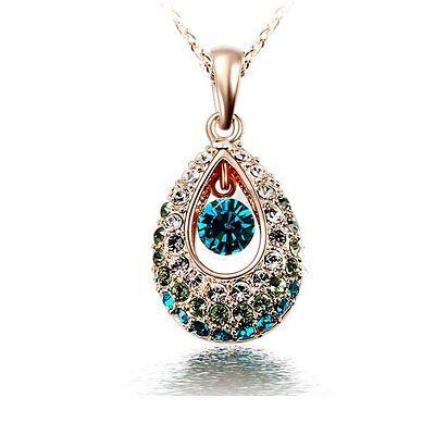 Jewellery - Women 18k Gold Genuine Rhinestone Crystal Dangle Angel's Teardrop Necklace Gifts