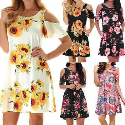 Plus Size Womens Loose Sunflower Midi Dresses Cold Shoulder A Line Sundress US