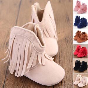 lindo-recien-nacido-bebe-nina-nino-Borla-Suave-Zapatos-Botas-Cuna-NUEVO