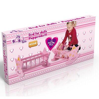 """PUPPENWIEGE  """"Stern"""" Puppenbett Babybett Spielzeug-Bett Holzspielzeug"""