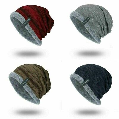 Soft Cap Striped Men's  Winter Slouchy Work Hat Warm Ribbed Beanie Toboggan Knit