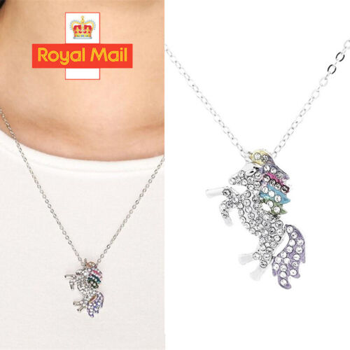 Jewellery - Unicorn Pendant Necklace Chain Flying Horse Kids Girls Jewellery Party Gifts A