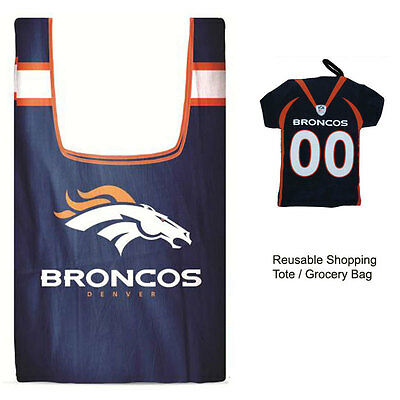 New Jersey Style Nfl Denver Broncos Reusable Shopping Tote Grocery Bag