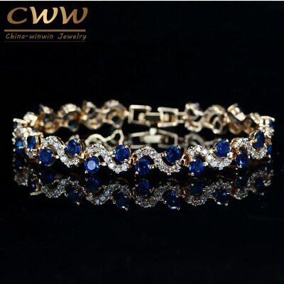 Blau Kubischer Zirkon Stein Tennis Armbänder Gold Weihnachten Geschenke für