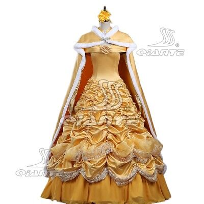 Beauty and the Beast Belle Princess Cosplay Costume Dress Fancy Dress with Cape
