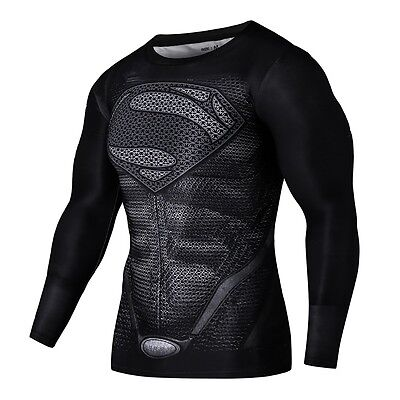 Mens Compression Shirts Long Sleeves Fitness Superman Cosplay Costumes Clothing