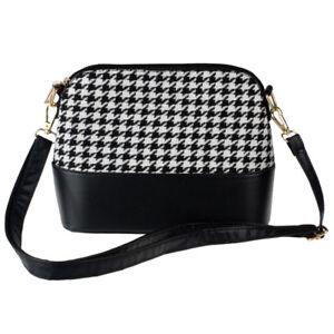 Women Houndstooth Shoulder Bag Tote Purse PU Leather Women Messenger  Satchel Bag 80a29f817e