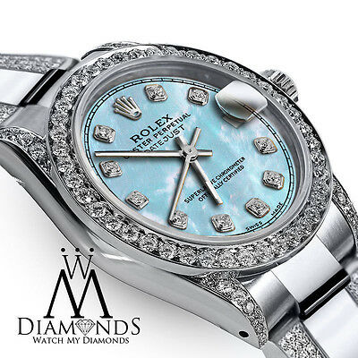 Ladies 31mm Rolex Oyster Perpetual Datejust Custom Diamonds Tone Baby Blue Dial