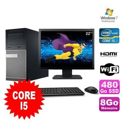 Lot PC Tour DELL 3010 MT I5-2400 Graveur 8Go 480Go SSD HDMI Wifi W7 + Ecran 22