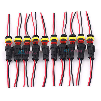 10 Kit Waterproof Acdc Power Female Male 2pin 2way Cable Connector Awg Marine