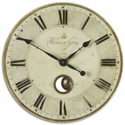 Uttermost Harrison Gray 23 Round Wall Clock in Black and Ivory