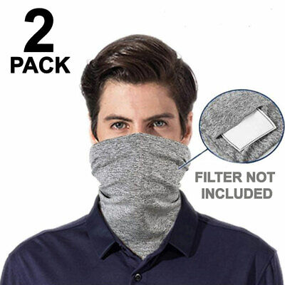 Face Mask Cotton Washable With Filter Pocket Reusable Mouth Cover Gray 2 PCS Accessories