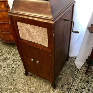 Antique oak phonograph made in Canada