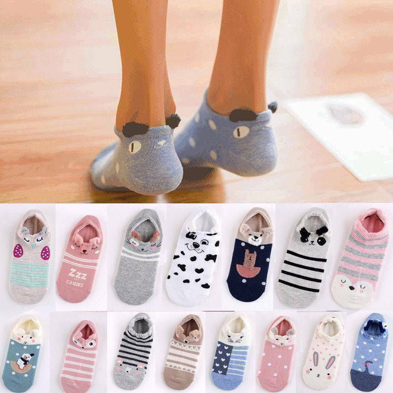 Cute Women Cotton Warm Socks Animal Patterned Invisible Shor