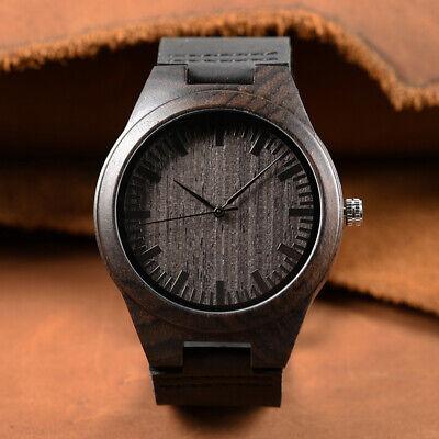 Unisex Luxury Men's Women's Bamboo Wood Watch Quartz Leather Wrist Watches Gift