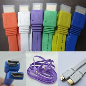 1-5M-3M-5M-10M-V1-4-Flat-HDMI-Cable-M-to-M-For-BLURAY-3D-DVD-PS3-HDTV-XBOX-360