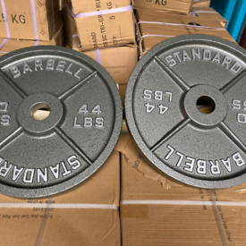 Weight plate set Olympic cast iron and tri grip rubber