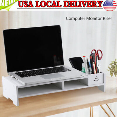 White Computer Monitor Stand Desk Table Shelf Laptop Organizer Storage Rack