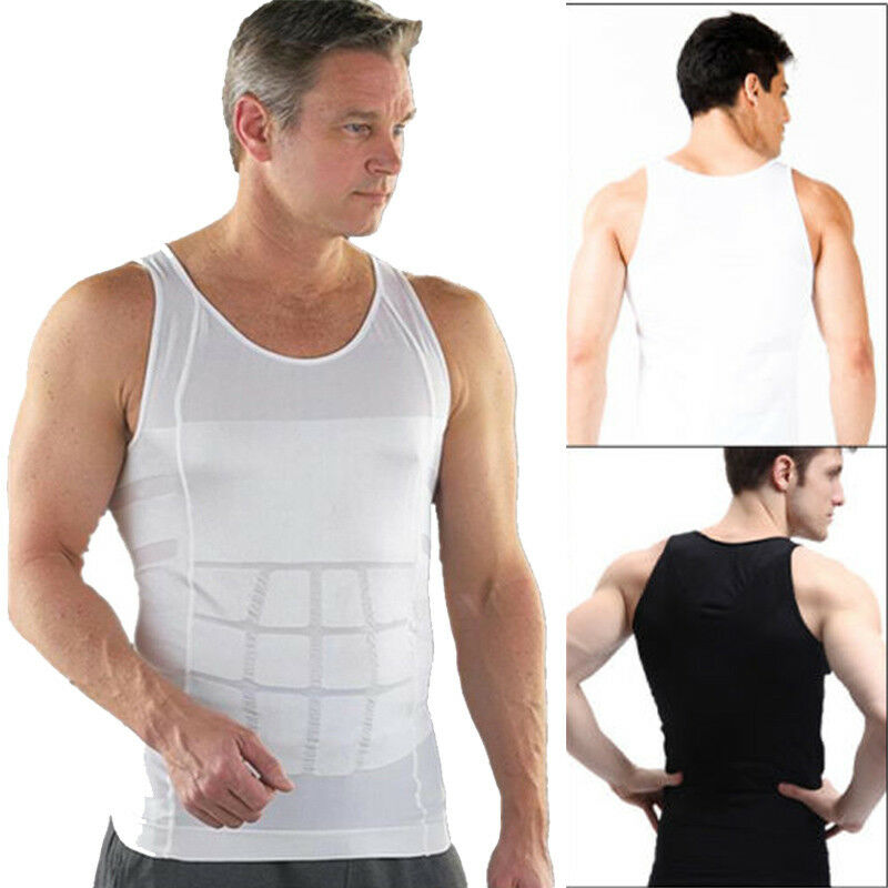 Men/'s Body Shaper Vest For Slimming Tummy Waist lose Weight Compression Shirt US