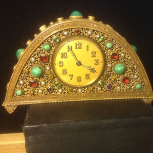 Superb Antique Chinese Table Clock Jade And Applied Stones