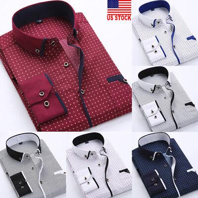 US Luxury New Fashion Mens Slim Fit Shirt Long Sleeve Dress Shirts Casual Shirts (New Mens Casual Shirt)