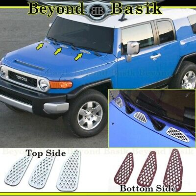 For 2007-2012 2013 2014 Toyota FJ Cruiser STAINLESS STEEL 3Pc Vent Accent Trims