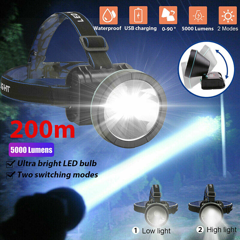 Bright LED Headlamp Rechargeable Headlight Torch 5000 Lumens for Hunting Outdoor