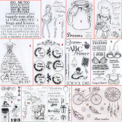 Happy Girl Transparent Silicone Clear Stamps DIY Scrapbook Embossing Card School - Clear Stamps