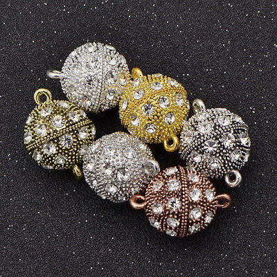 5 Pcs Crystal Round Ball Magnetic Clasps Metal Connectors For Jewelry Making - Clasps For Jewelry Making