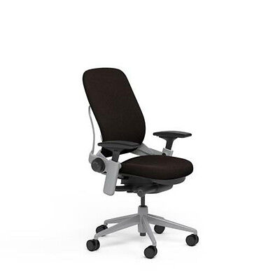 Steelcase Adjustable Leap Desk Chair Buzz2 Chocolate Fabric Seat Platinum Frame