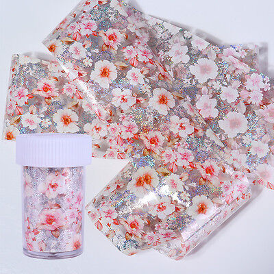 Holographic Starry Nail Foil Pink Flower Manicure Nail Art Transfer Sticker