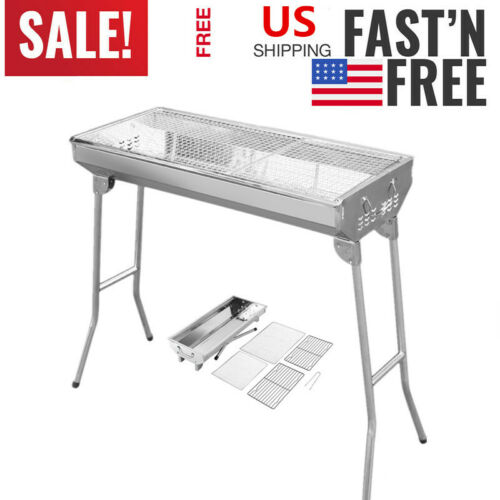 Large Fold Barbecue Charcoal Grill Stove Shish Stainless Ste