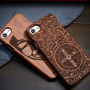 For Apple Iphone 7 / 7 Plus 100% Natural Wood Engraved Hard Back Cover Case