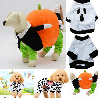Funny Christmas Halloween Pumpkins Garment Pumpkin Pet Puppy Dog Shirt Clothes