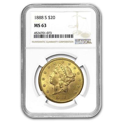 1888-S $20 Liberty Gold Double Eagle MS-63 NGC