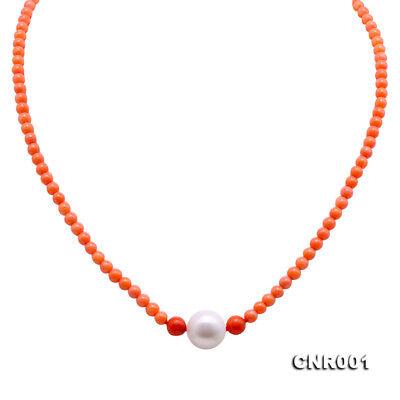 Round Freshwater Pearl Pendant (JYX 3.5-5.5mm Orange Round Coral Necklace Freshwater Pearl Pendant)