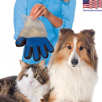 Pet Dog Cat Gentle Deshedding Brush Grooming Glove Massage Hair Fur Removal Tool Brushes, Combs & Rakes