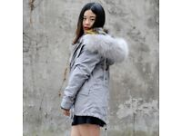 DAYMISFURRY--AW18 Dyed Fox Fur Lined Parka with Grey Raccoon Fur Hood