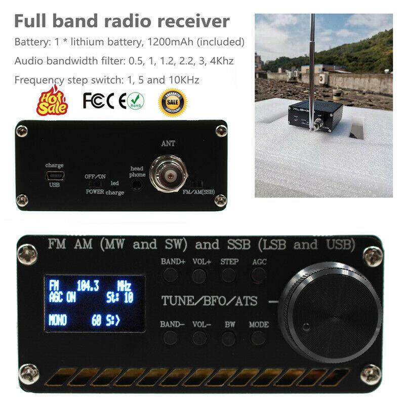 SI4732 All Band Radio Receiver FM AM (MW & SW) SSB (LSB & USB)+ANT+Battery+Case