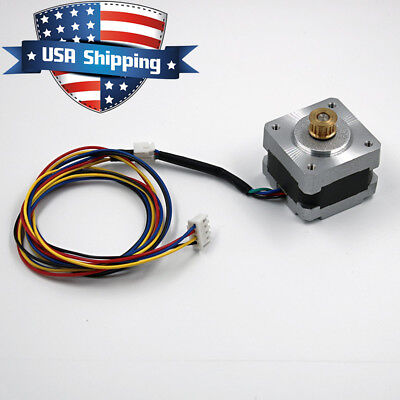 Nema 14 Stepper Motor 0.9deg 400steprev 0.4a 15.6oz.in With 15t Copper Gear