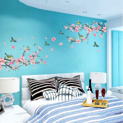 UK Home Decor Cherry Peach Blossom Flower Bird Wall Sticker Removable Wall Decor